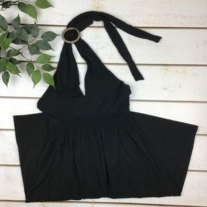 Tommy Bahama Black Adjustable Halter Mini Dress